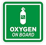 "1 PC Heart-stopping Unique Oxygen on Board Window Sticker Sign Mac Apple Macbook Laptop Luggage Hoverboard Wall Graphics Decal Decor Vinyl Art Stickers Patches Decals Size 2""x2"" Color White-Green"