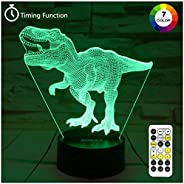 Dinosaur Toys, T Rex 3D Night Light 7 Colors Changing Night Lights for Kids with Timer & Remote Control &a