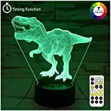 Dinosaur Toys, T Rex 3D Night Light 7 Colors Changing Night Lights for Kids with Timer & Remote Control & Smart Touch, T...