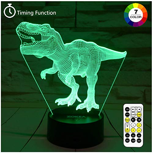 Age Birthday Gift - Dinosaur Toys, T Rex 3D Night Light 7 Colors Changing Night Lights for Kids with Timer & Remote Control & Smart Touch, T Rex Toys Birthday Gifts for Boys Age 2 3 4 5 6+ Year Old Boy Gifts(T-Rex 1)