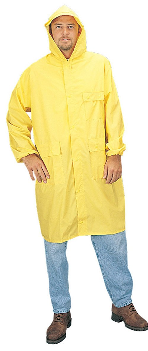 Liberty DuraWear PVC//Polyester 2-Piece Raincoat with Detachable Hood 48 Length Yellow X-Large Case of 12 0.35mm Thick