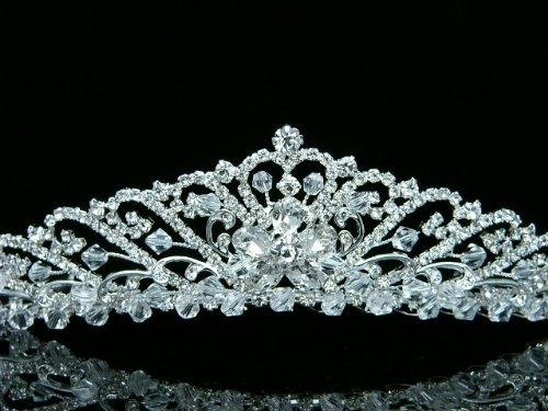 Bridal Wedding Princess Rhinestones Crystal Flower Tiara Crown - Silver Plating