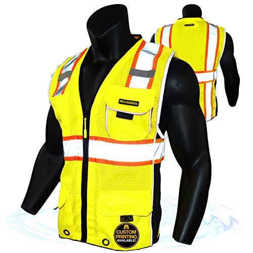 KwikSafety (Charlotte, NC) CLASSIC (X-Large Yellow)| 10 Pockets Class 2 ANSI High Visibility Reflective Safety Vest Heavy Duty Mesh with Zipper and HiVis for OSHA Construction Work HiViz Men Women