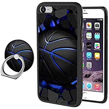 iPhone 7 Plus 8 Plus Case with Ring Holder Stand, Basketball Rotating Ring Stand and Slim Thin Anti-Fingerprint Hard with Ring Holder Stand for iPhone 7 Plus 8 Plus