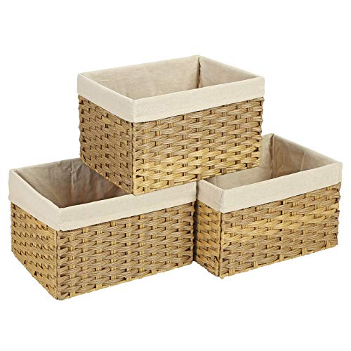 SONGMICS Set of 3 Rattan-Style Storage Bins, Indoor Collapsible Storage Baskets, Toy Organizers, 30L Decorative Bins with Liner and Handles, Bedroom Closet Laundry Room, Natural URRB225NL (Rattan Bins)
