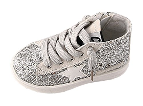 iDuoDuo Girls Boys Old Style High Top Zipper Sequins Sneakers Dress Leather Shoes (Toddler/Little Kid)