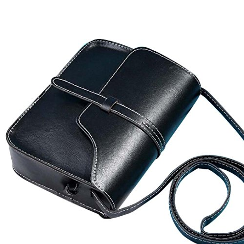 Ladie's PU Leather Vintage Crossbody Bag Shoulder Bag Fits iPhone 8 Plus 9 Colors (Black)