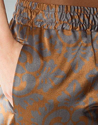 RENÉ LEZARD Damen Hose Baumwolle Pant Gemustert, Größe: 40, Farbe: Braun