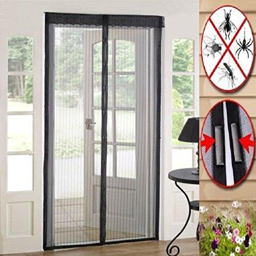 Delight eShop Mesh Door Curtain magnetic repellent Magic Snap Fly Bug Insect Mosquito Screen Net Guard (Cream)