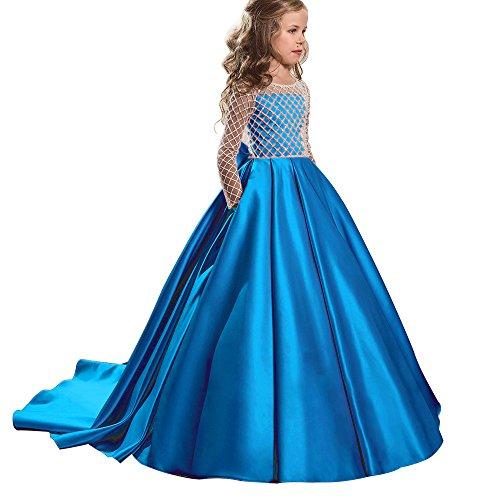 Christmas Flower Girl Dress Floor Length Button Draped Tulle Ball Gowns for Kids (6, Blue) -