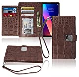 htc one virgin mobile phone case - LG V30 Wallet Case, Matt [ 8 Pockets ] 7 ID / Credit Card 1 Cash Slot, Power Magnetic Clip With Wrist Strap For LG V 30 Leather Cover Flip Diary (Brown)