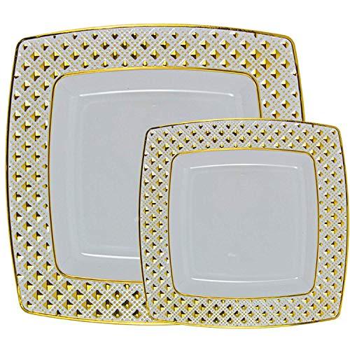 Majestic Durable Plastic Dinner Plate - Set of 40 Disposable Square Dinner Plates Bundle Combo | Premium Quality Firm White Plastic | Elegant Designed Diamond | Bulk Qty 20x 10.75'' Dinner Plates + 20x 7.6'' Salad Plates (gold)