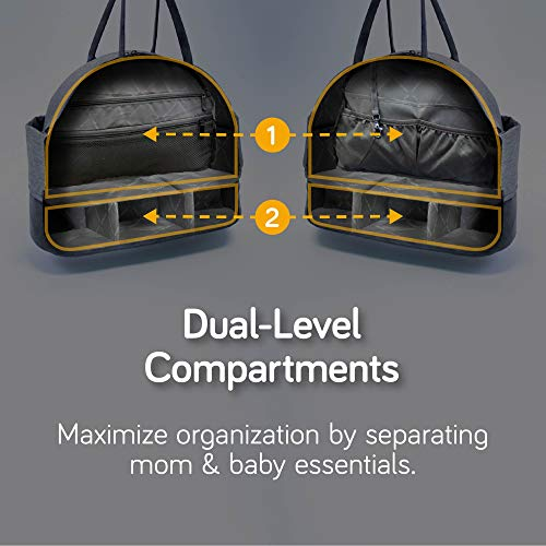 nanobébé Duet Diaper Bag, Multi-function 2-tier Stylish Large Capacity Travel Maternity Bag, Breast Pump Transport, Baby Changing Mat and Baby Bottle Cooler Included
