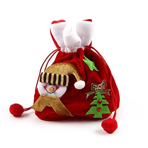 Snowman Drawstring Candy Bag (Pleuche Red Santa's Small Gift Sack With Cord Drawstring Christmas Candy Bag (Christmas Snowman))