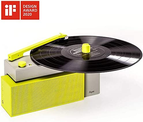 HYM Originals Duo Turntable with Detachable Bluetooth Speaker, Dust Cover, Neon Yellow