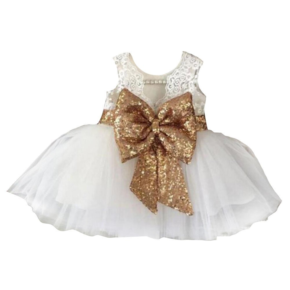 Inlefen Girls Bowknot Lace Princess Skirt Summer Sequins Dresses Baby Toddlers Kids 0-5 Years