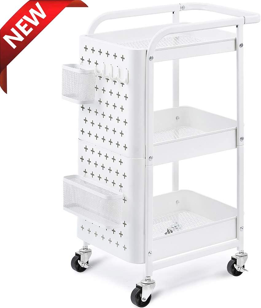 KINGRACK 3-Tier Storage Rolling Cart, Metal Utility Cart with Removable Pegboard, Trolley Organizer with Utility Handle and Extra Baskets Hooks for Kitchen Office Home, White