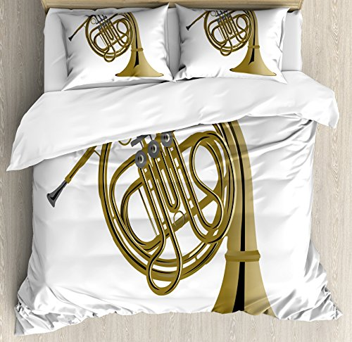 Lunarable Music Queen Size Duvet Cover Set, French Horn Brass Instrument European Arts Pipe Jazz Orchestra Band Graphic, Decorative 3 Piece Bedding Set with 2 Pillow Shams, Khaki Grey White ()