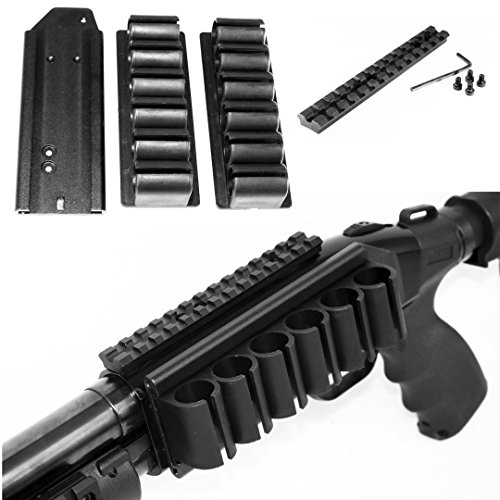 Trinity Mossberg 500 Picatinny Scope Mount W/12 Ga Side Saddle Shell Holders & Plate.