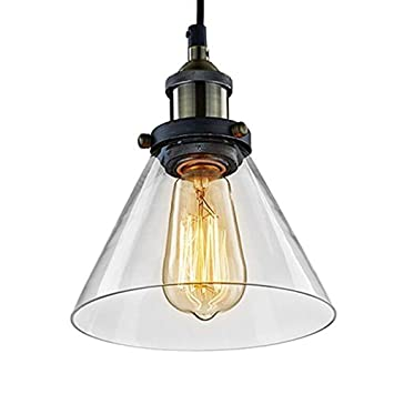 Unimall Lámpara de Techo Vintage Vidrio Colgante de Luz Industrial Lámpara Colgante (1)