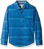 Calvin Klein Little Boys' Merge Horizontal Stripe Long Sleeve Shirt, Blue, 4