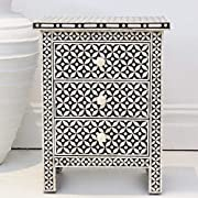 Handmade Geometric Eye Design Bone Inlay Night Stand Side Table in Black