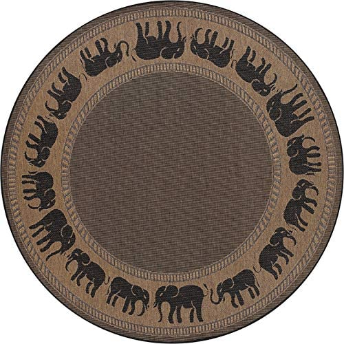 Couristan 1588 1021 Recife Elephant Cocoa Black Rug, 7-Feet 6-Inch Round