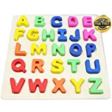 EasY Kid's ToY Wooden Peg Puzzle with Colorful Letters Of The Alphabet Best Jigsaw Game for Children To Learn an Have Fun. ABC Sorting Puzzle for Kids, They are Entertained for Hours