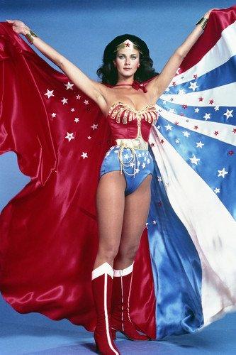 Lynda Carter in Wonder Woman full length holding up stars & stripes cape 24x36 Poster