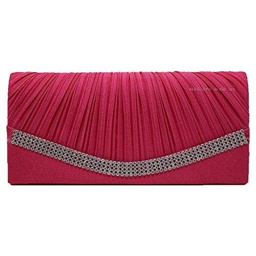 Wocharm Womens Pleated Crystal Studded Satin Bridal Wedding Bag Handbag Evening Party Prom Clutch Hot Pink