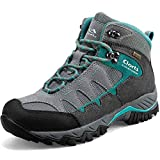 Clorts Women's Pioneer Hiking Boots Waterproof Suede Leather Lightweight Hiking Shoes Grey/Turquoise US Women Size 8.5 Medium Width