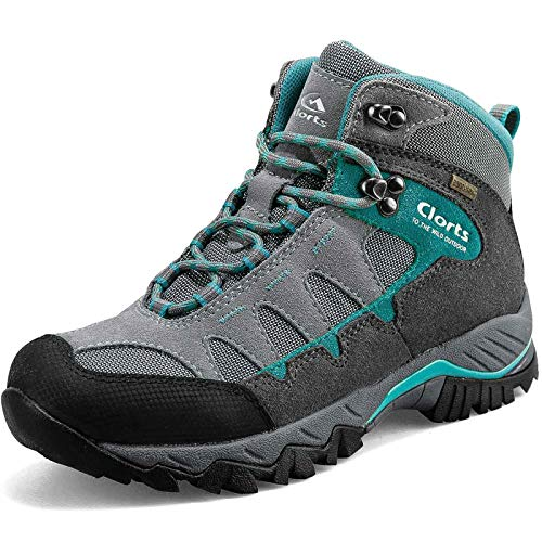 Clorts Women's Pioneer Hiking Boots Waterproof Suede Leather Lightweight Hiking Shoes Grey/Turquoise US Women Size 7.5 Medium Width (Hiking Women Wide Boots)