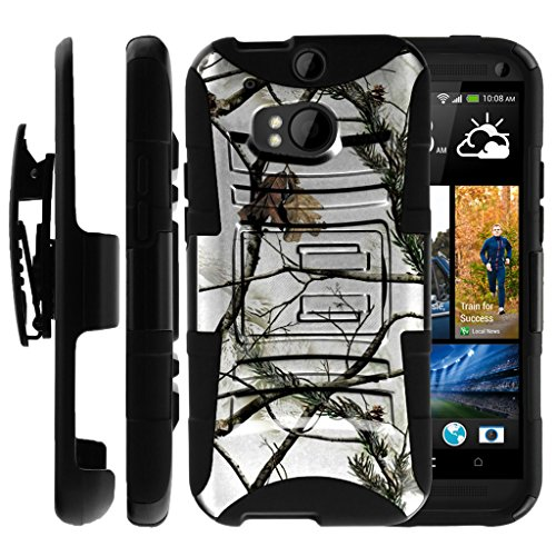 Untouchble Case for HTC One M8 Holster Case | HTC M8 Case [Heavy Duty Clip] Dual Layer Rugged Hybrid Armor [Kickstand] [Swivel Holster] - Snow Hunt Camo (Men One Cases For Htc Camo Phone)