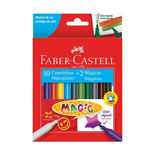 Canetinha, Faber-Castell, Magic, 15.0112MZF, 10 Cores + 2 Mágicas