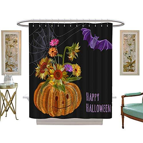 Decor Shower Curtain SetIllustration for Halloween pumpkin bouquet autumn flowers (sunflower gerbera daisy) bat spiderweb Embroidery (imitation satin stitches style) on black background ornament for
