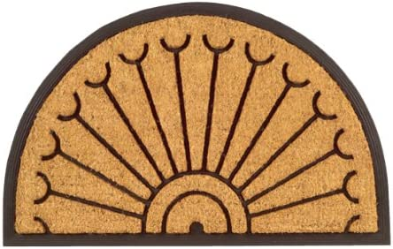 Imports Decor Half-round Rubber Back Coir Doormat, Peacock, 18-Inch by 30-Inch