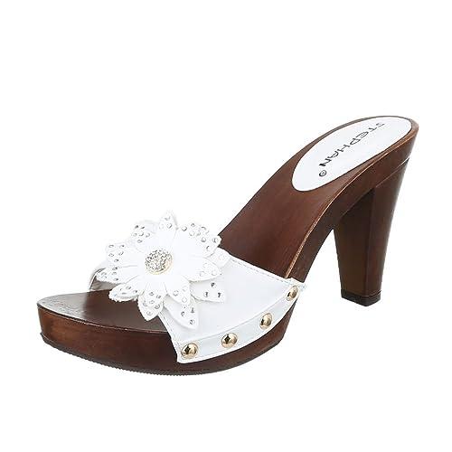Ital-Design Pantoletten Damen Schuhe Jazz   Modern Pump Strass Nieten  Besetzte Sandalen Sandaletten 7fbda88d72