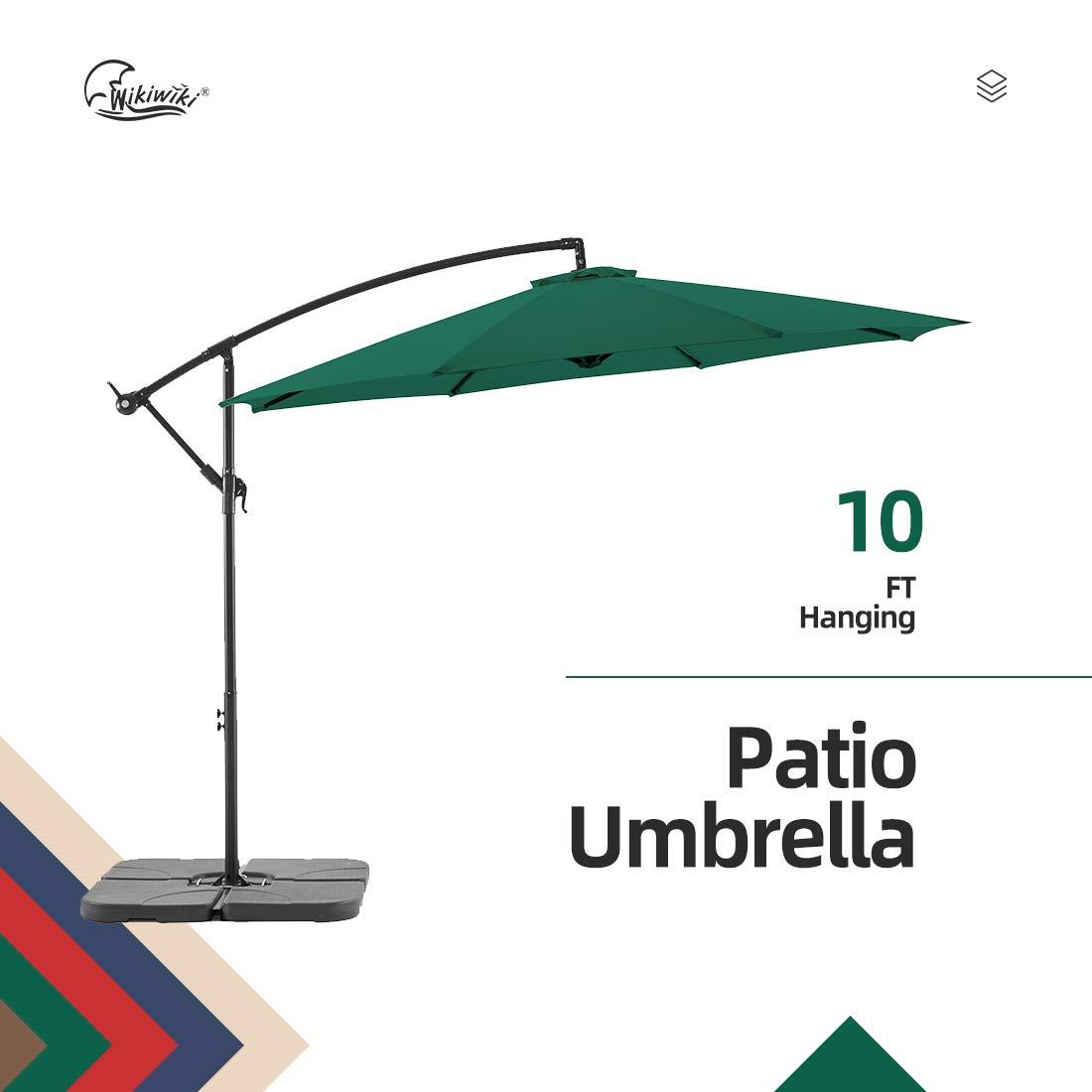 Beige Wikiwiki Offset Umbrella 10ft Cantilever Patio Umbrella Hanging Market Umbrella Outdoor Umbrellas with Crank /& Cross Base