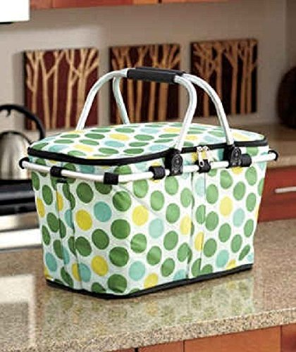 Polka Dot Print Collapsible Insulate Storage Tote Food Drink Basket Portable