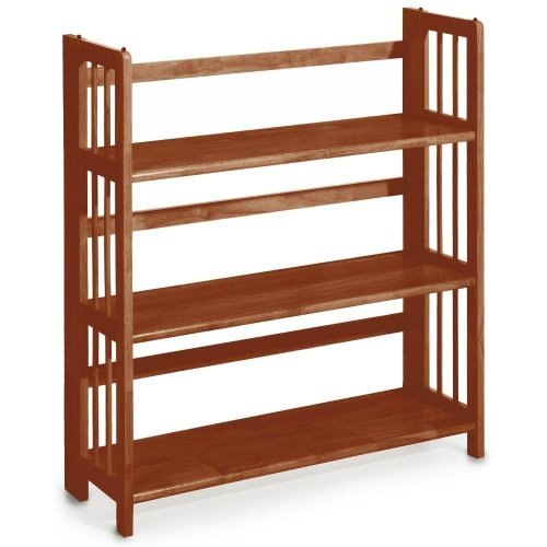 Mission Style 38 x 35 Inch Walnut Folding / Stacking Bookcase, 35