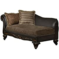 Homelegance Thibodaux Two-Tone Chaise, Brown Vinyl