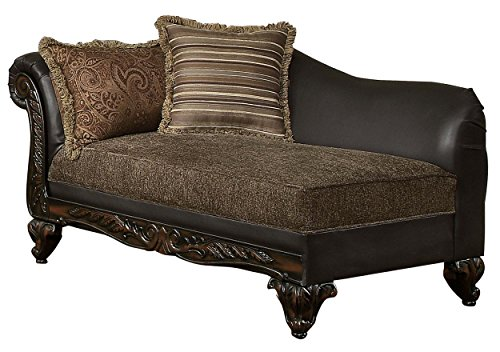 Homelegance Thibodaux Two-Tone Chaise, Brown Vinyl For Sale