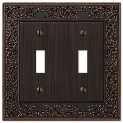 Double Outlet Switch - AmerTac 43TTVB 2 Toggle English Garden Wallplate, Aged Bronze