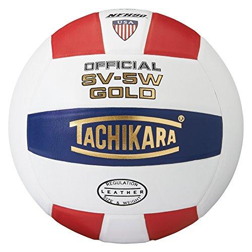 Tachikara SV5W Gold Competition Premium Leather Volleyball (Scarlet/White/Navy)