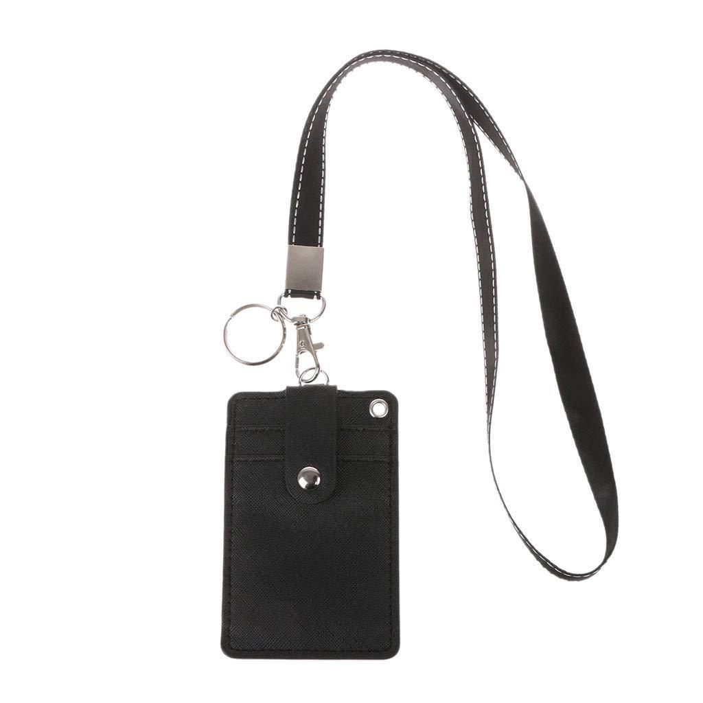 Roydoa - Tarjetero de identificación para oficina o escuela con llavero, correa para el cuello, color negro 11x7.2cm