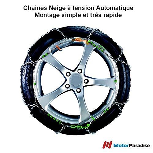Chaines neige Automatiques 9 mm pour pneus 195/55R16 - Haute Qualité - Montage Facile et Rapide!