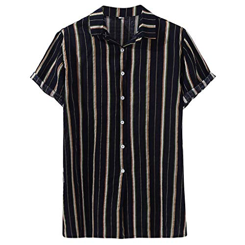 Donci Men's Fashion Short Sleeve Regular Fit Button Down Shirt Casual Vertical Striped Dress Shirt S-XXL