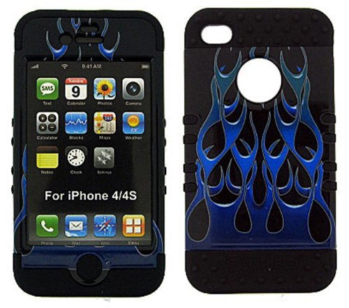 BUMPER CASE FOR APPLE IPHONE 4G 4 G SOFT BLACK SKIN HARD BLUE GREEN WILD FLAME COVER ()