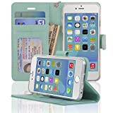 iPhone 6 / 6s Case, NAVOR® [Stand Feature] [Removable Strap] [4 Card Slots] [Clear ID Window] [Money Pocket] Synthetic Leather 4.7 inch iPhone 6 / 6s Wallet Case - Navor (Mint)