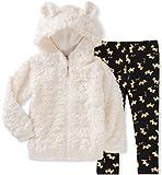 Juicy Couture Little Girls' Faux Fur Jacket Pant Sets, Egret/Black Pool/Gold, 6